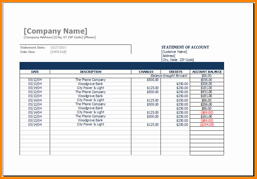 Statement Of Account Template Excel Best Of 11 Sample Statement Of Account Template