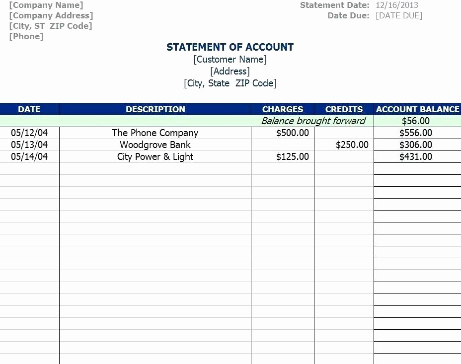 Statement Of Account Template Excel Best Of Accounting Ledger Template General Paper Download Working