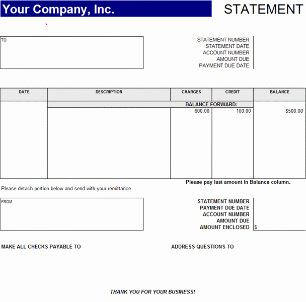 Statement Of Account Template Excel Fresh Statement Account Statements Templates