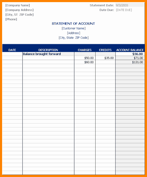 Statement Of Account Template Excel Inspirational 4 Statement Of Account Template Excel