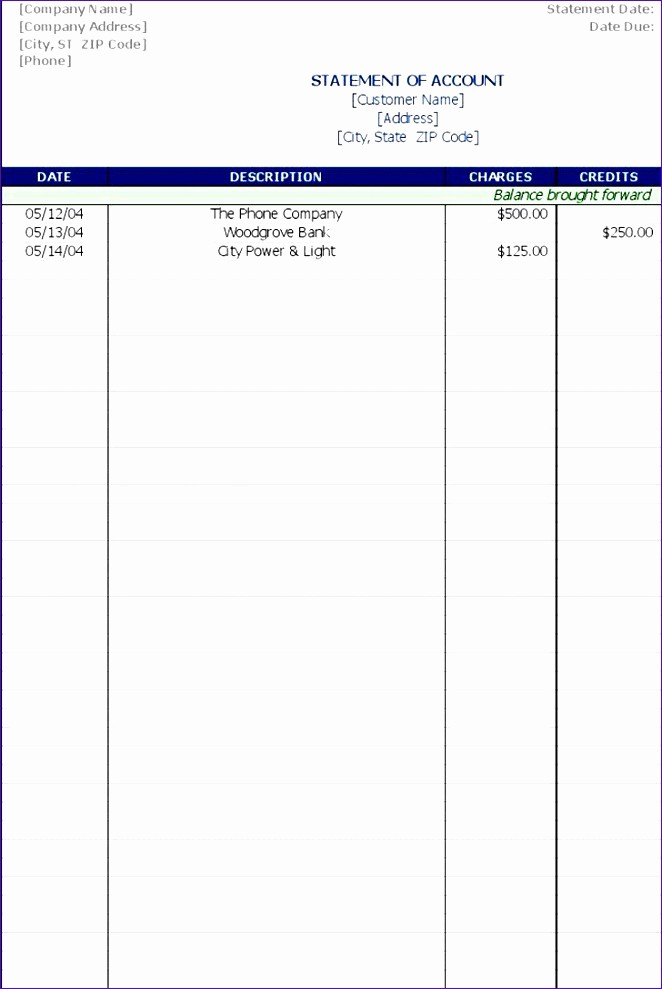 Statement Of Account Template Excel Inspirational 8 Statement Account Template Exceltemplates