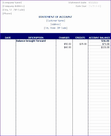 Statement Of Account Template Excel New 8 Statement Account Template Exceltemplates
