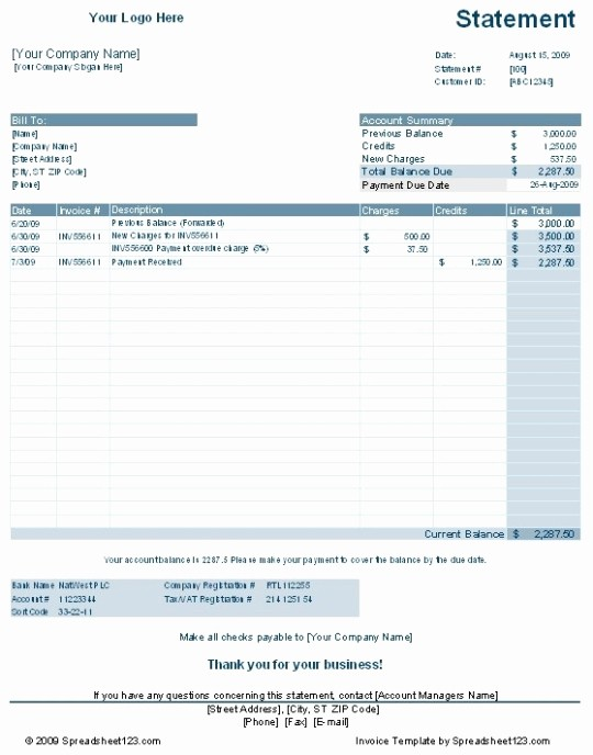 Statement Of Account Template Excel New Account Payable Statement Template Templates Resume