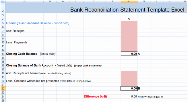 Statement Of Account Template Excel New Balance Sheet Reconciliation Template Excel Bank