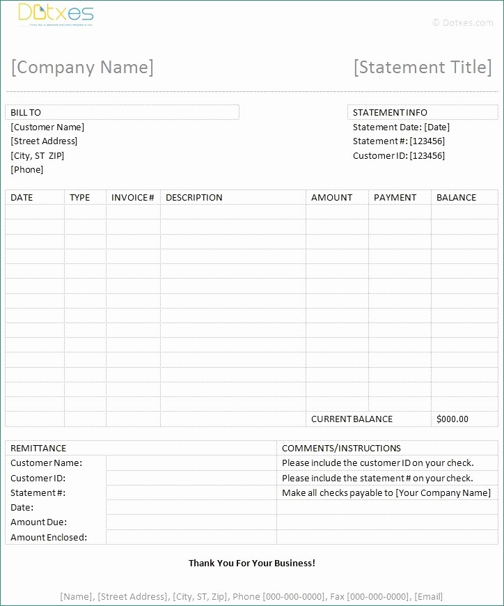 Statement Of Invoices Template Free Best Of Invoice Statement Templates Clean Bill Statement Template