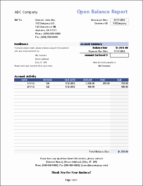 Statement Of Invoices Template Free Inspirational Vertex42 Invoice assistant Invoice Manager for Excel