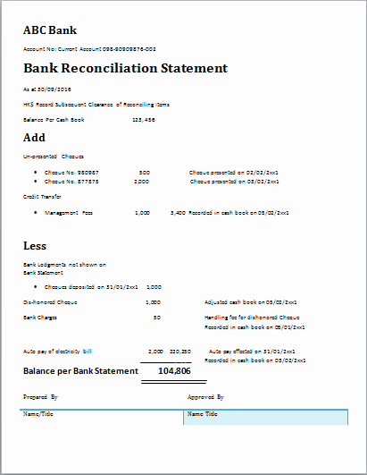 Statement Templates for Microsoft Word Best Of Bank Reconciliation Statement at Word Documents
