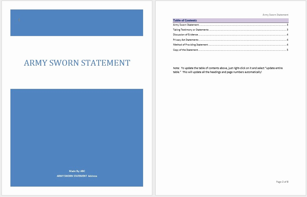 Statement Templates for Microsoft Word Elegant Army Sworn Statement Template Microsoft Word Templates
