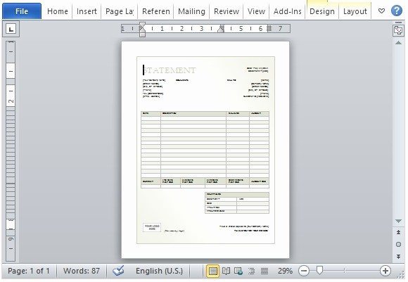Statement Templates for Microsoft Word Fresh Billing Statement Template for Microsoft Word