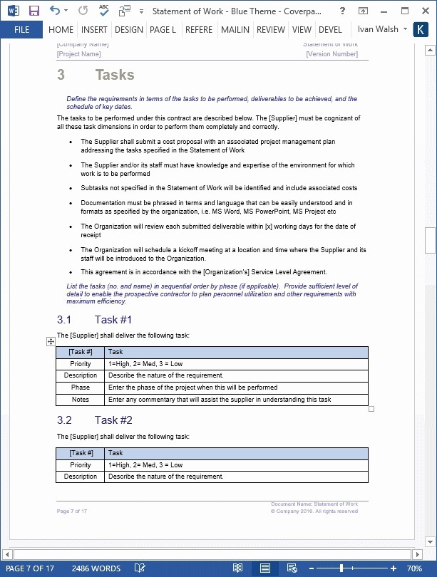 Statement Templates for Microsoft Word Fresh Statement Work Template
