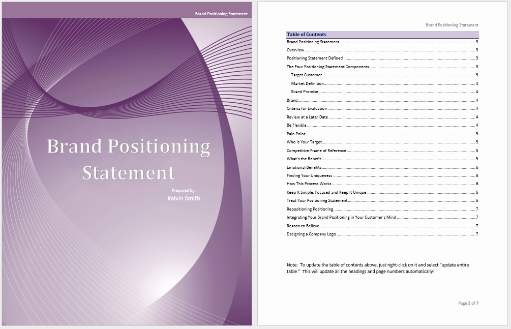 Statement Templates for Microsoft Word Inspirational Brand Positioning Statement Template Microsoft Word