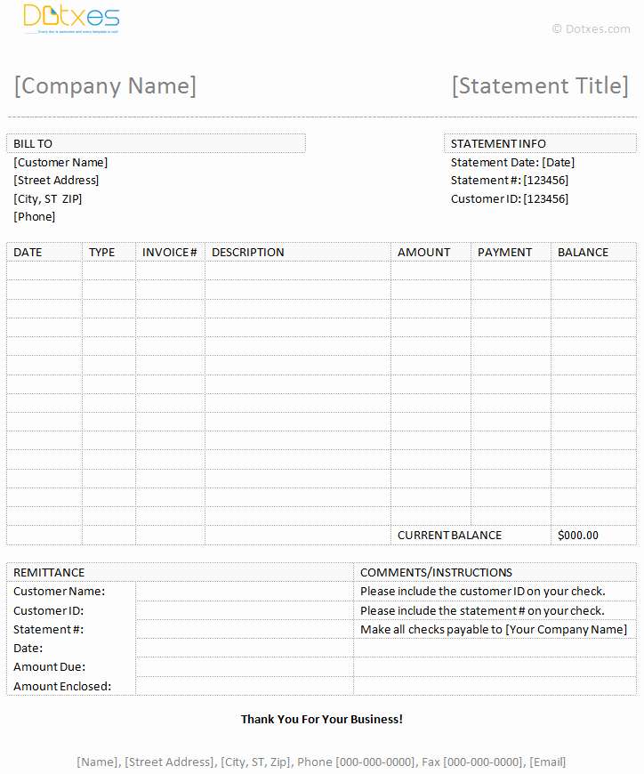 Statement Templates for Microsoft Word Lovely Billing Statement Template Dotxes