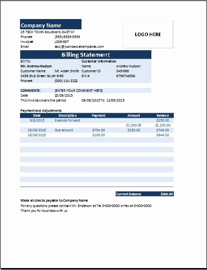 Statement Templates for Microsoft Word Luxury Ms Excel Billing Statement Invoice