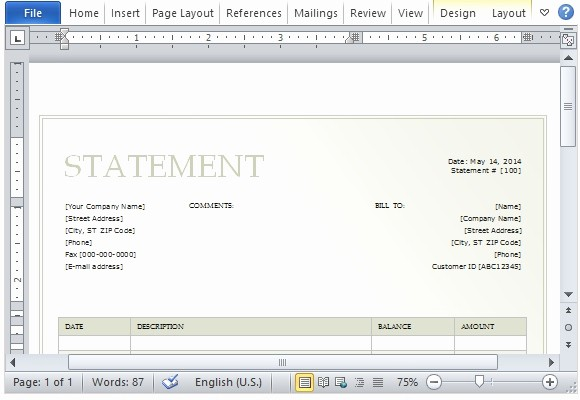 Statement Templates for Microsoft Word New Billing Statement Template for Microsoft Word