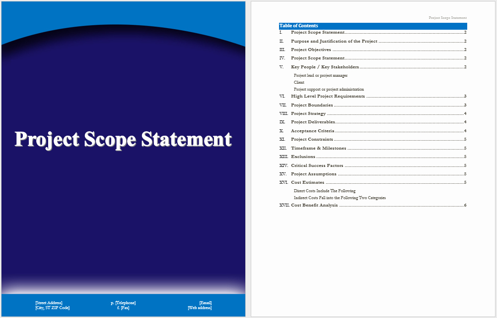 Statement Templates for Microsoft Word Unique Project Scope Statement Template – Microsoft Word Templates