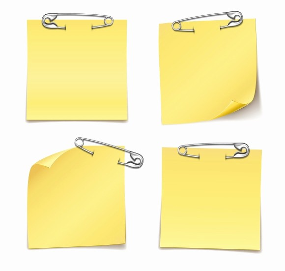 Sticky Note Template for Word Awesome Blank Sticky Notes with Safety Pins Objects On Creative