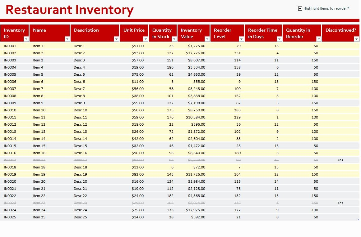Stock Management In Excel Sheet Beautiful Restaurant Inventory Sheet