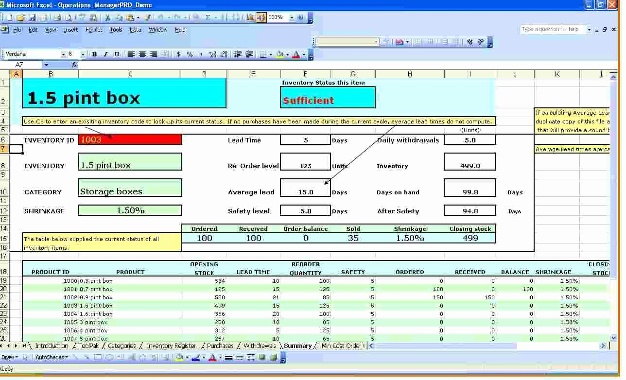 Stock Management In Excel Sheet New Inventory Spreadsheet Template for Excel Ms Excel