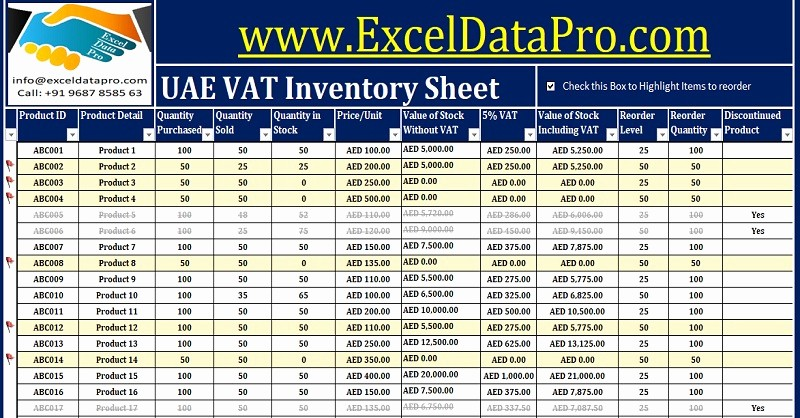 Stock Management In Excel Sheet New Uae Vat Templates Archives Exceldatapro