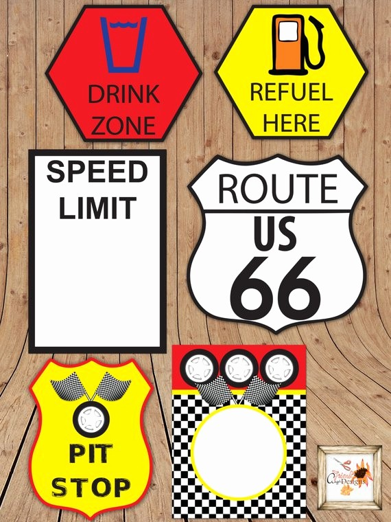 Stop Sign Template Microsoft Word New Race Car themed Printable Party Road Signs In Microsoft Word