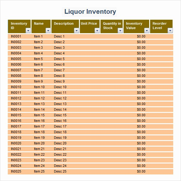Store Inventory format In Excel Awesome 9 Sample Liquor Inventory Templates to Download