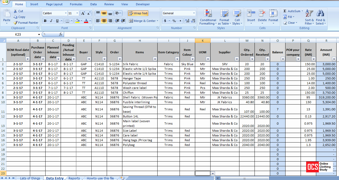 Store Inventory format In Excel Best Of How to Maintain Fabric Trim and Accessory Record In An