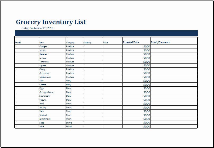 Store Inventory format In Excel Fresh Grocery Inventory List Template Ms Excel