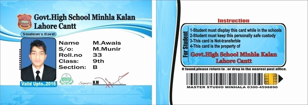 Student Business Cards Templates Free Beautiful Nice Student Id Card Template Unique Id Card