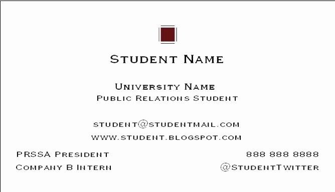 Student Business Cards Templates Free Best Of social Media & Public Relations Business Cards for Pr