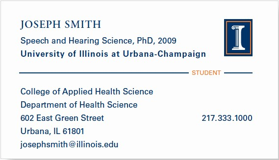 Student Business Cards Templates Free Elegant Business Cards Identity Standards Illinois