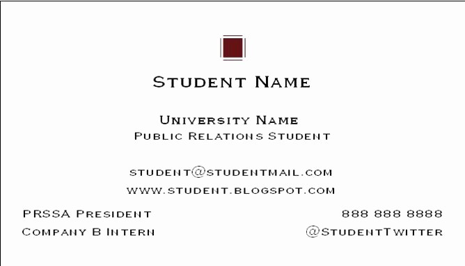 Student Business Cards Templates Free Fresh How to Create A College Student Business Card