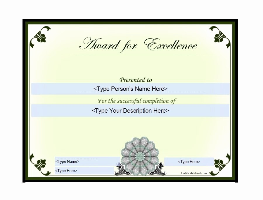 Student Certificate Template Google Docs Awesome Award Certificate Templates