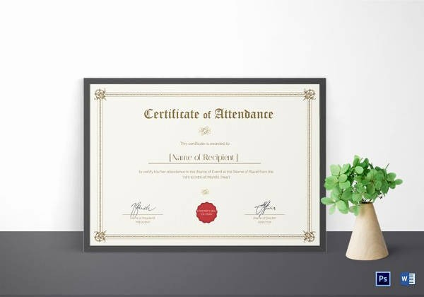 Student Certificate Template Google Docs New 16 Sample attendance Certificate Templates to Download