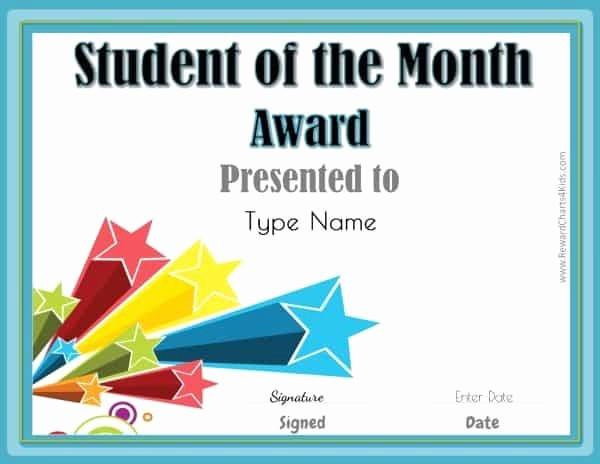 Student Council Award Certificate Template Fresh Editable Student Of the Month