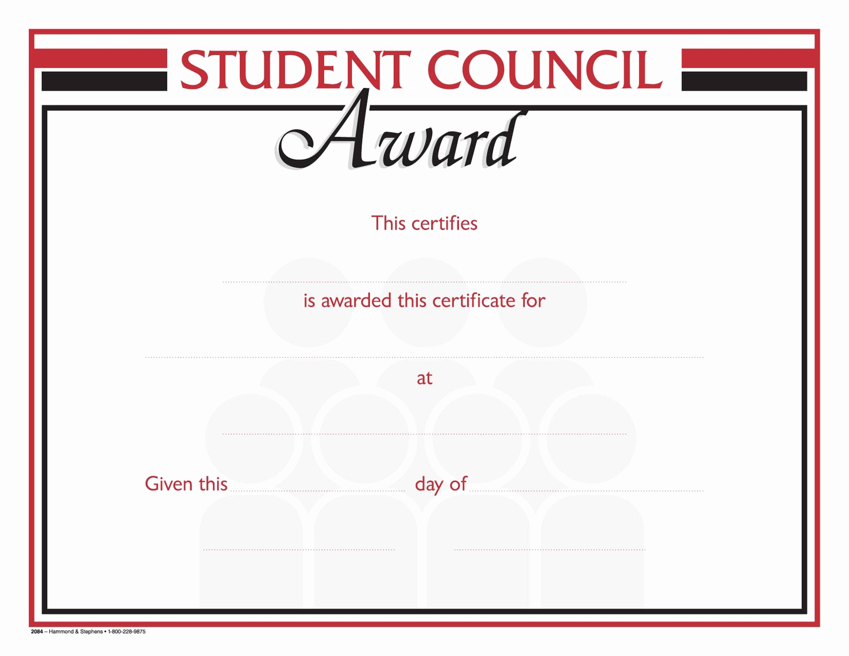 Student Council Award Certificate Template Fresh Hammond & Stephens