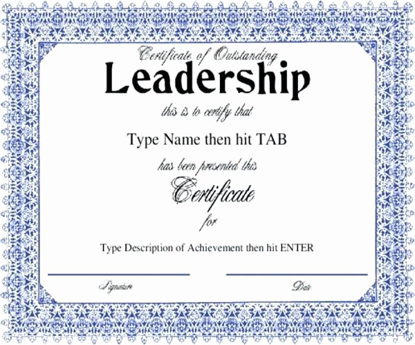 Student Council Award Certificate Template Inspirational Certificate Outstanding Leadership with A formal Blue