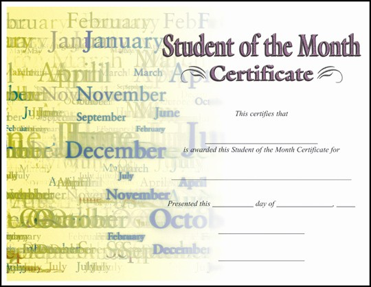 Student Council Award Certificate Template Lovely Certificate Student Of the Month C7030