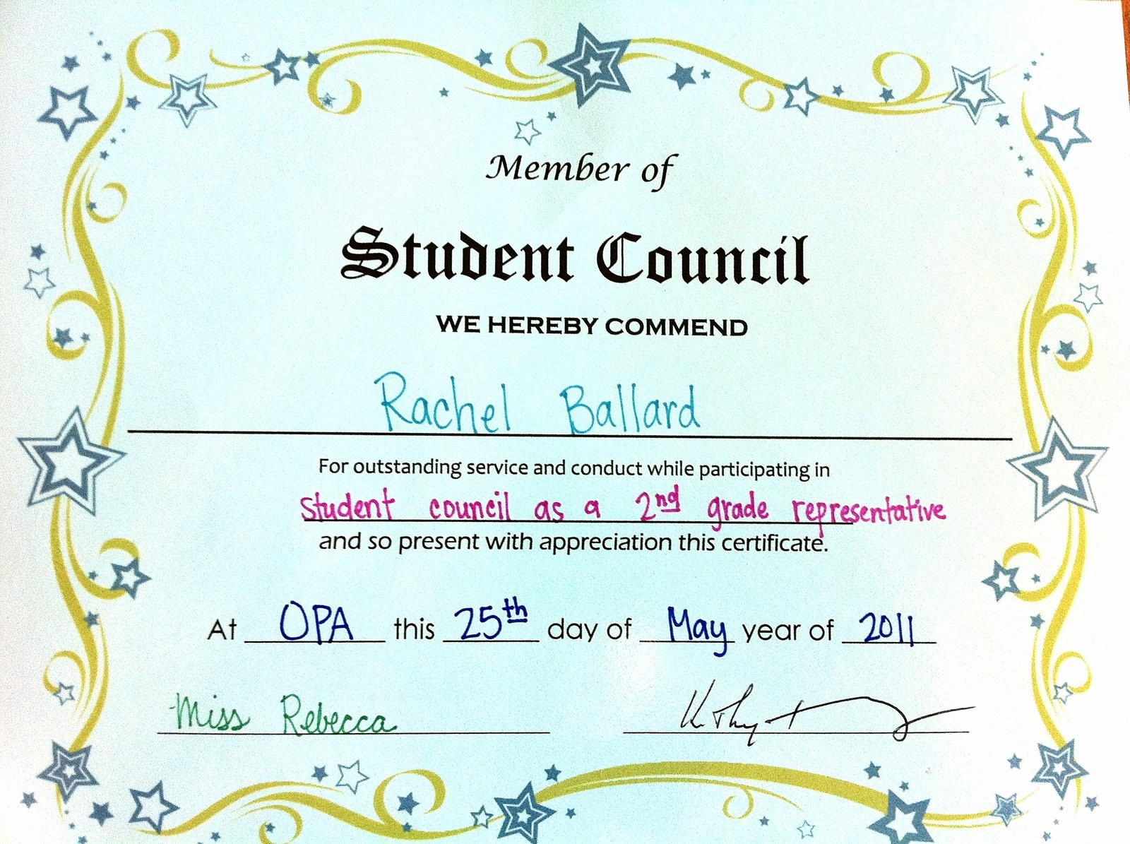 Student Council Award Certificate Template New Student Council Certificates Printable