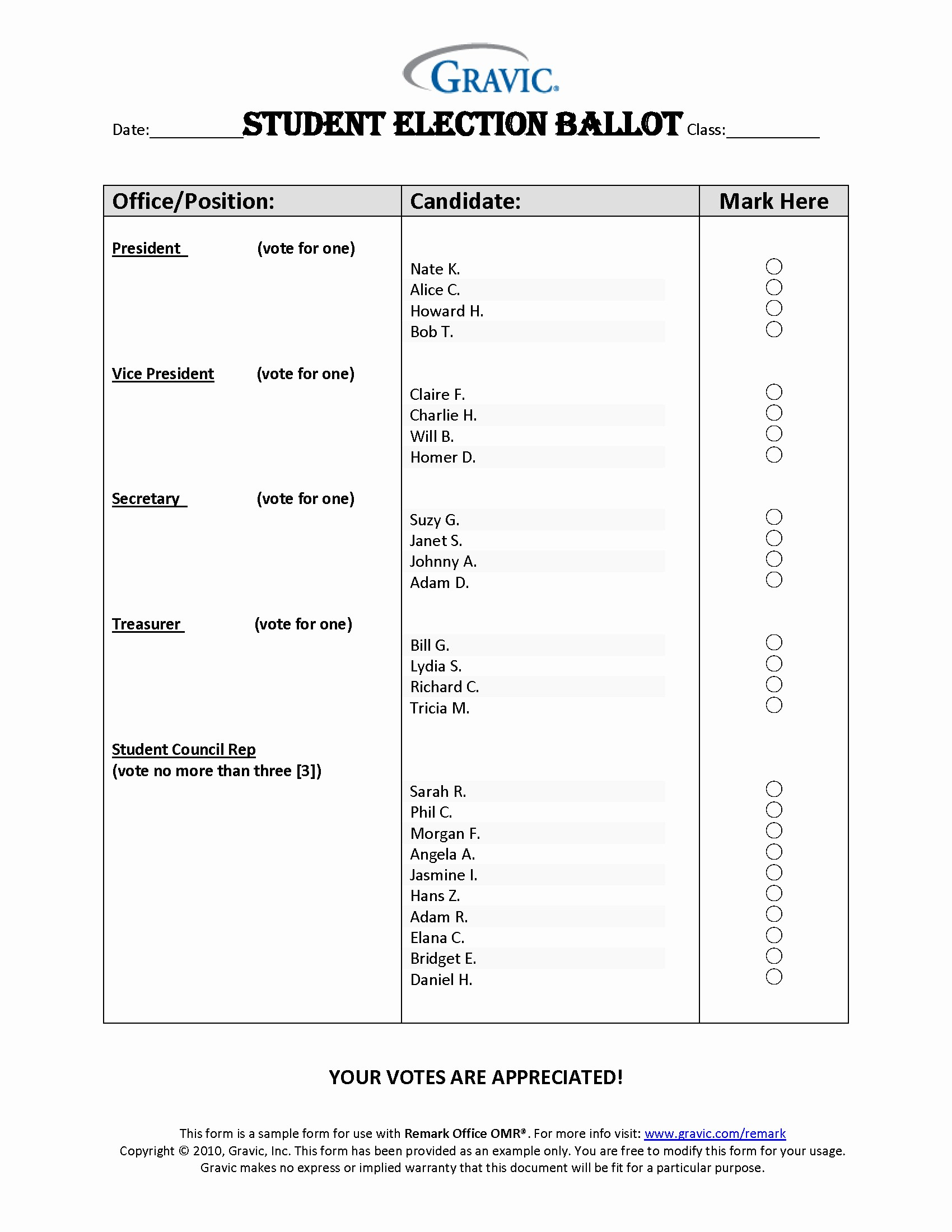 Student Council Certificate Template Free Awesome Student Election Ballot · Remark software