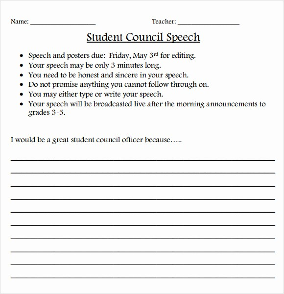 Student Council Certificate Template Free Beautiful Sample Elementary Student Council Speech