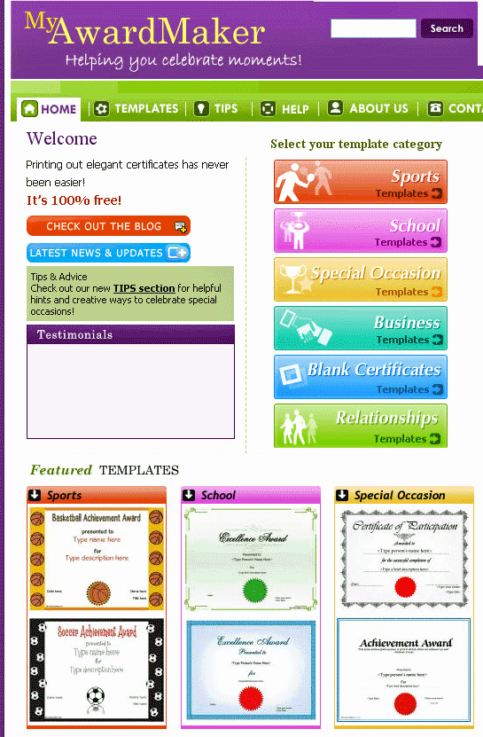 Student Council Certificate Template Free Unique Myawardmaker Free Custom Certificate Templates