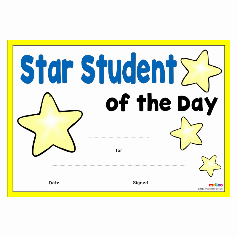 Student Of the Day Certificate Awesome Star Student Certificates
