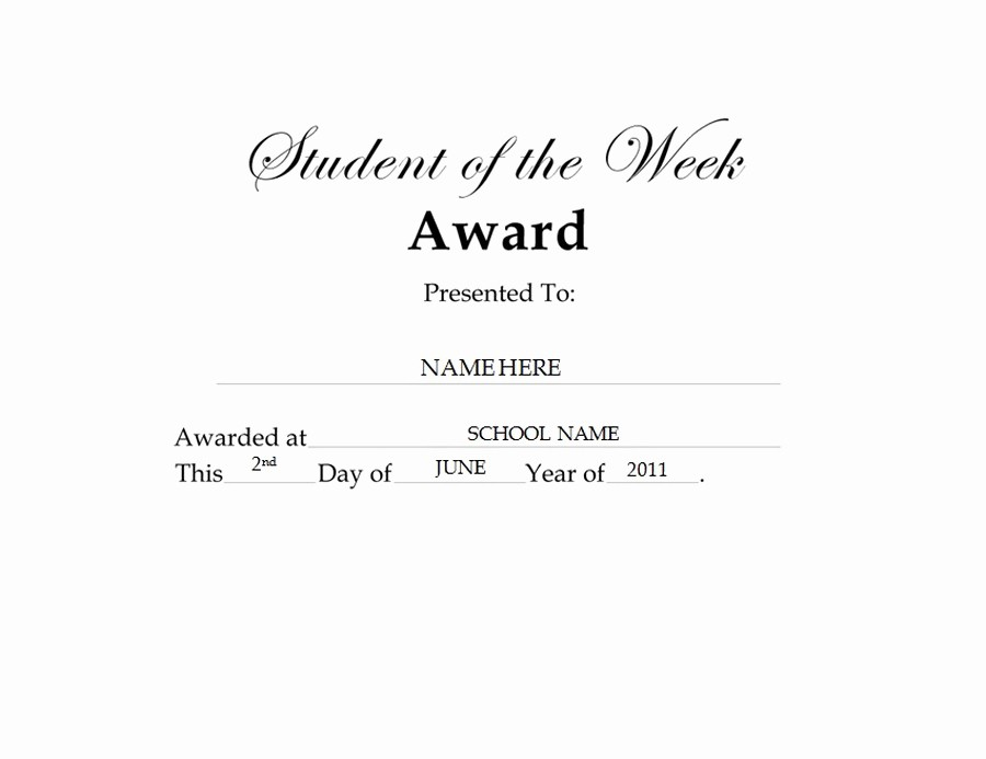Student Of the Day Certificate Awesome Student Of the Week Award Free Templates Clip Art