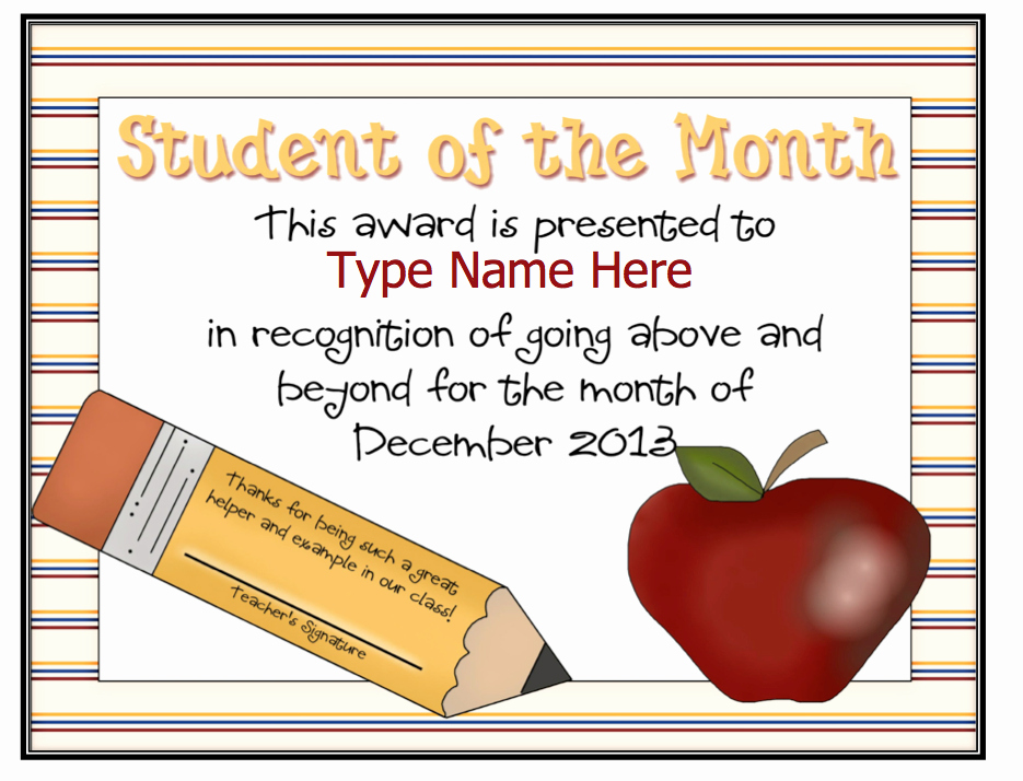 Student Of the Day Certificate Beautiful Dayley Supplements Editable Student Of the Month