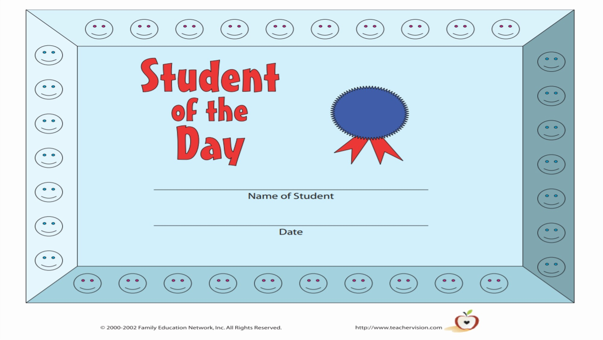 Student Of the Day Certificate Beautiful Printable Awards for Students Grades K 12 Teachervision