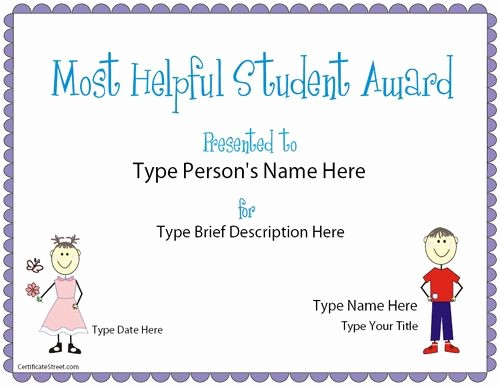 Student Of the Day Certificate Best Of Education Certificate Most Helpful Student Award