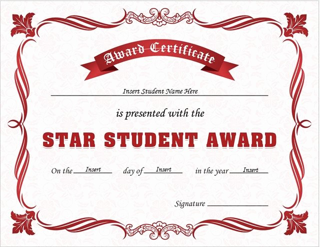 Student Of the Day Certificate Best Of Star Student Award Certificates for Ms Word