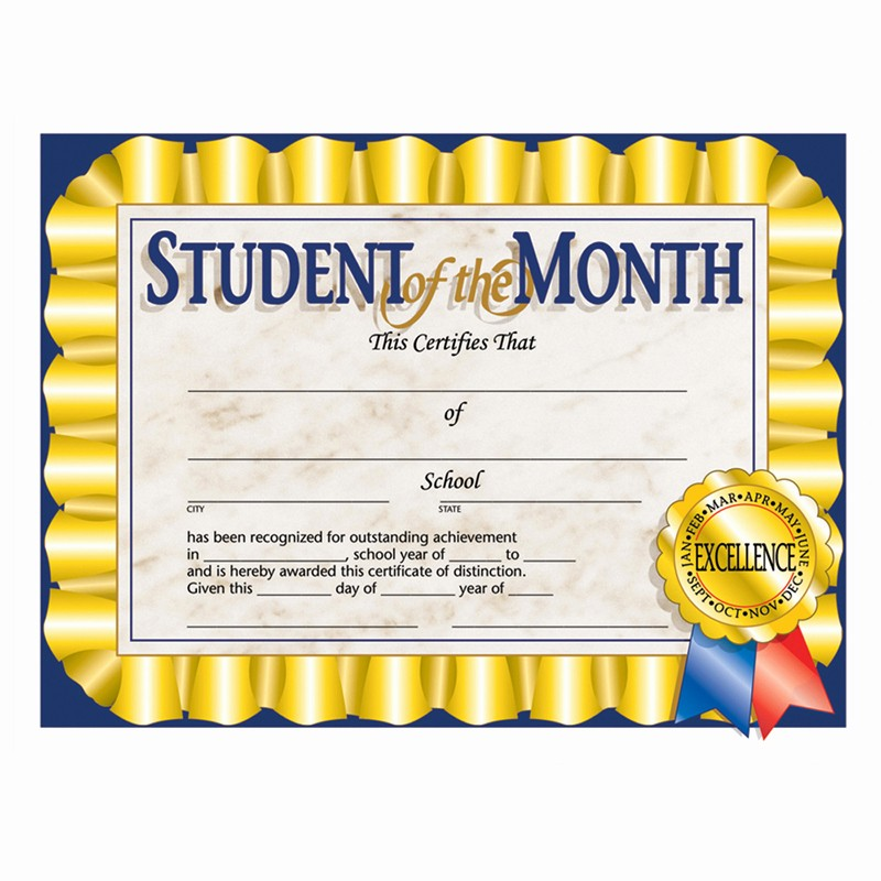 Student Of the Day Certificate Best Of Student Of the Month 30 Pk 8 5 X 11