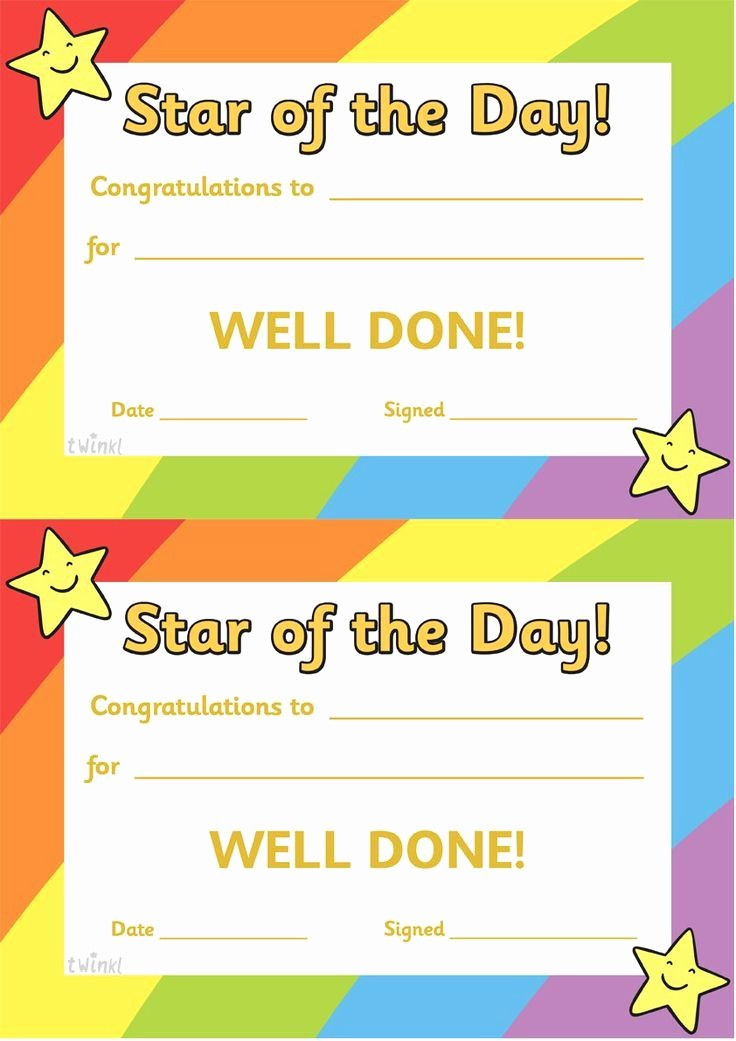 Student Of the Day Certificate Elegant Twinkl Resources Star Of the Day A4 Poster Classroom