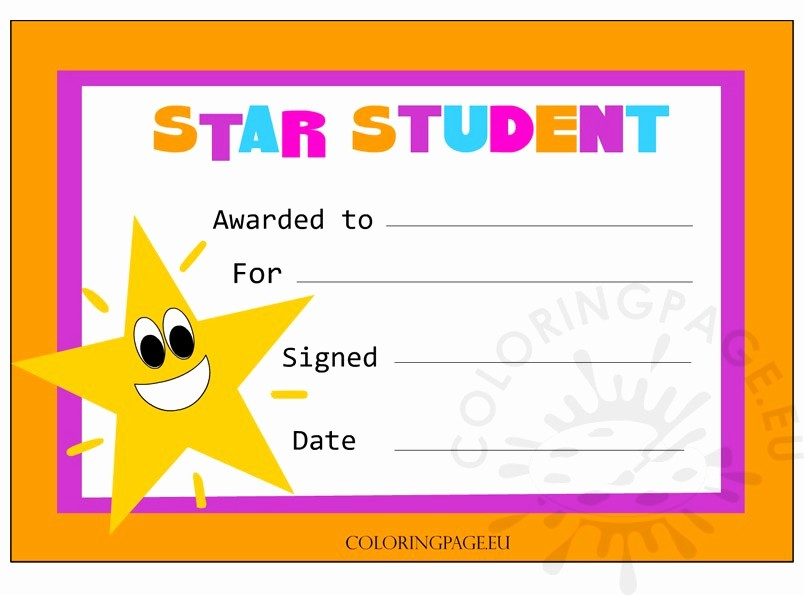 Student Of the Day Certificate Fresh Star Student Certificate
